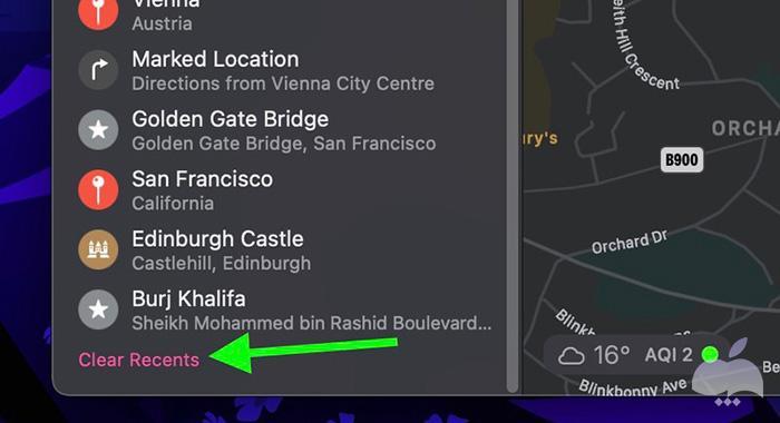 پاک کردن تاریخچه جستجوی Apple Maps